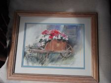 "PINE FRAMED GLAZED PRINT DAVINA DARTON 1985 FLOWER PLANTED WHEELBARROW 16"" X 13"""